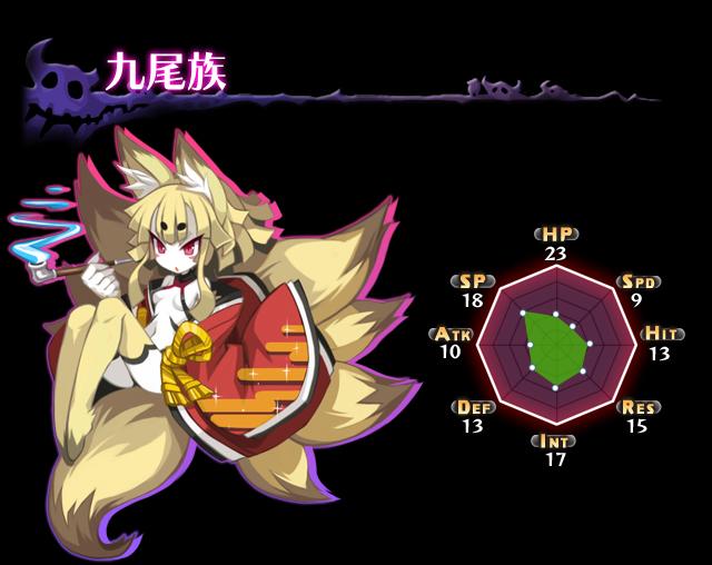 九尾族 九つの尾を持つ妖孤。運気で自身の能力を強化する。 魔チェンジ武器は杖。... 魔界戦記デ